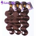 8А Мода Плюс Волос Малайзии Девы Волос Объемной Волны Света коричневый #4 3 Связки Дешевые Человеческих Волос Малайзии Волос пучки