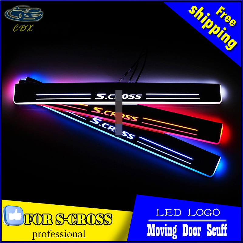 Car Styling LED Moving Door Scuff For Suzuki S-Cross 2014 2015 Door Sill Plate Cover Side Step Led welcome Pedal Accessories