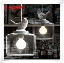 Creative American Village Cafe Restaurant single-head glass chandelier bedroom children's room bird hanging