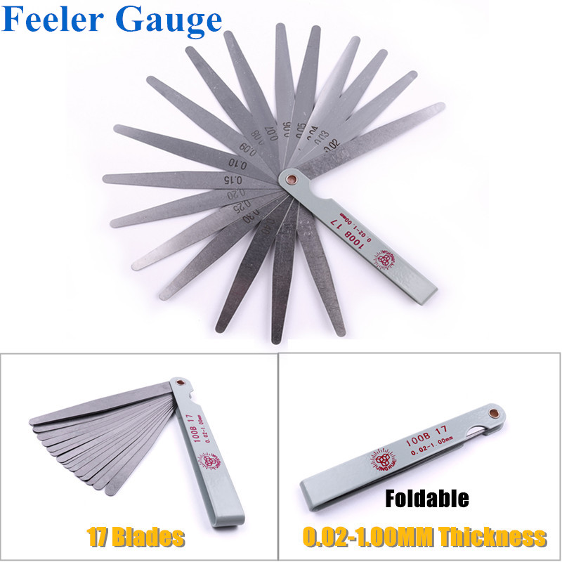1 Set 100mm Metric Feeler Gauge 17 Blades 0.02-1.00mm Measuring Tools Stainless Steel Foldable Thickness Gap Filler Feeler Gauge