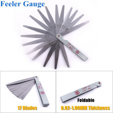 1 Set Metric Feeler Gauge 17 Blades 100mm 0.02-1.00mm Thickness Measuring Tools Stainless Steel Easy Foldable