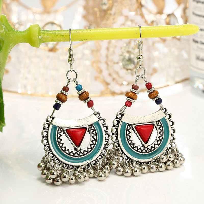 מסורתי Chandbali Kundan Jhumka Jhumki חרוזים פעמון ינגל עגילי תכשיטים עבור נשים חג המולד מתנות