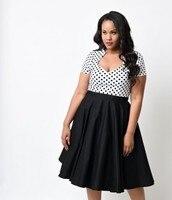 Plus la Taille 5XL Femmes Robe Rockabilly Vintage Style Polka Dots Coton Stretch Fit Et Flare Swing Saint Valentin Femmes Robes
