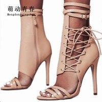 נשים אופנה משאבות גלדיאטור הקיץ עקב דק טו פיפ נעלי עקבים גבוהים נשים מקרית תחרה עד קרסול רצועת נשים משאבות