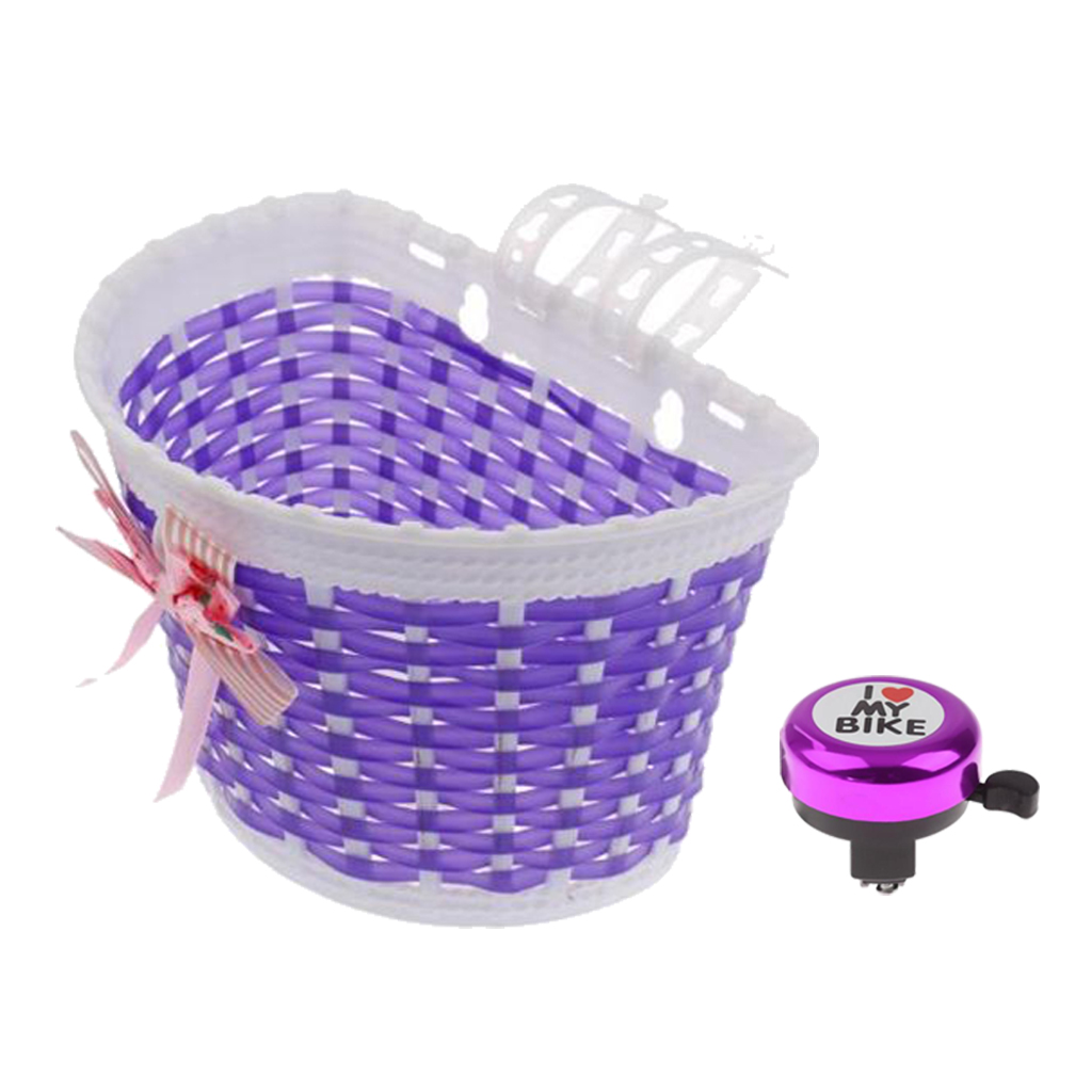 Kids Girls Boys  Bike Basket Lovely Bicycle Cycle Basket Shopping Stabilizers +Bike Handlebar Bell Purple Bicycle Scooter Basket