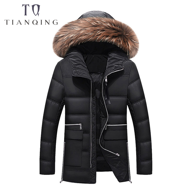 2018 New Withstand - 40 Degrees Winter Jacket Men Big Real Fur Collar Hooded Duck   Down   Jacket Thick   Down   Jacket Men Warm   Coat