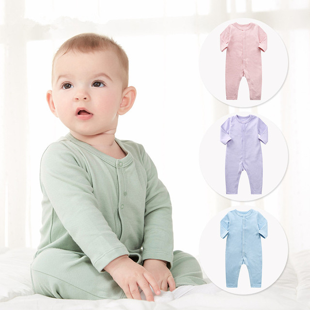 Boy's Solid Color Long Sleeve Pajama Jumpsuit with Buttons 1