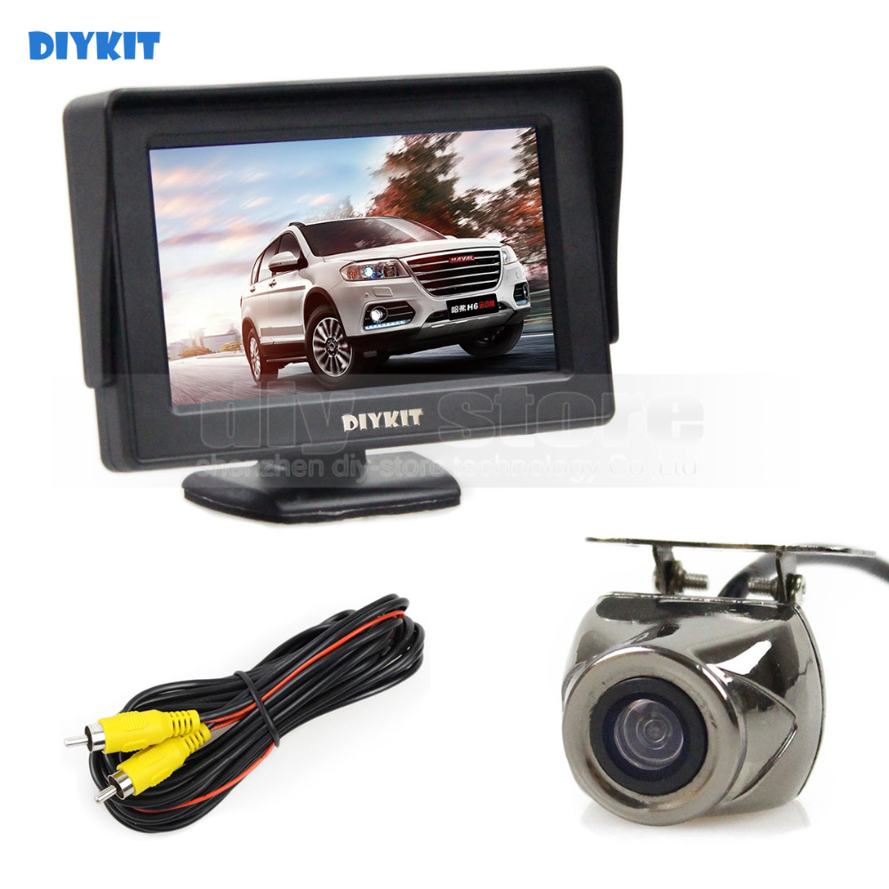 DIYKIT Wired 4.3inch TFT LCD Video Car Monitor 2 Video Input + Car Camera Rear View Security System Parking Reversing System