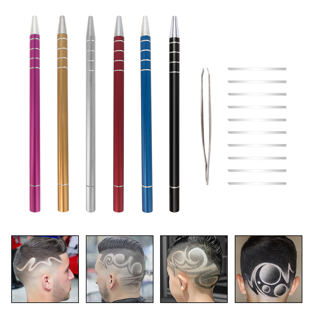 Fashion 1Pc Hairstyle Engraved Pen 10Pcs Blades Professional Hair Trimmers Hair Styling Hairdresser Salon Eyebrow Shaving Tool