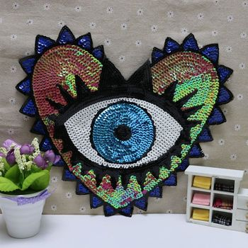 Fashion coat patch heart-shaped eye sequins embroidery clothing accessories,applique embroidery flower patches embroidery