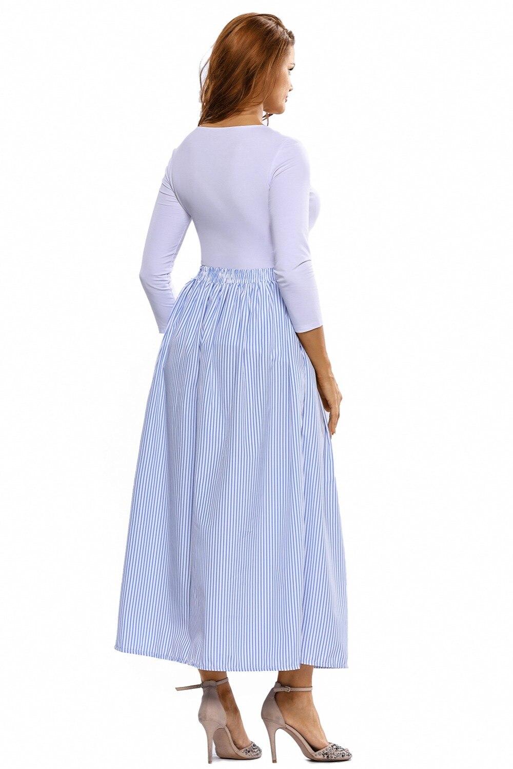 2068a1525fe4b7 2017 vrouwen meisje zomer herfst kleding pak sets blauw witte strepen knop  front maxi rok vintage rokken faldas saia in 2017 vrouwen meisje zomer  herfst ...