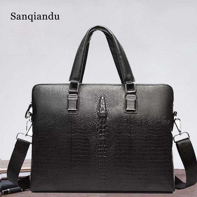 SANQIANDU Cow Genuine Leather Bag Business Men Bags Laptop Tote Briefcases Crossbody Bags Shoulder Handbag Men's Messenger Bag