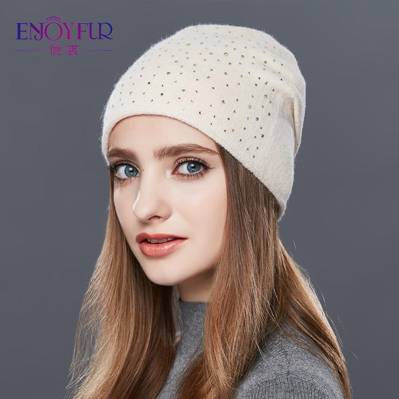 ENJOYFUR Cashmere Knitted Hat Female Warm Wool Winter Hats Women's Rhinestones   Skullies     Beanies   Girl Thick Gravity Falls Cap