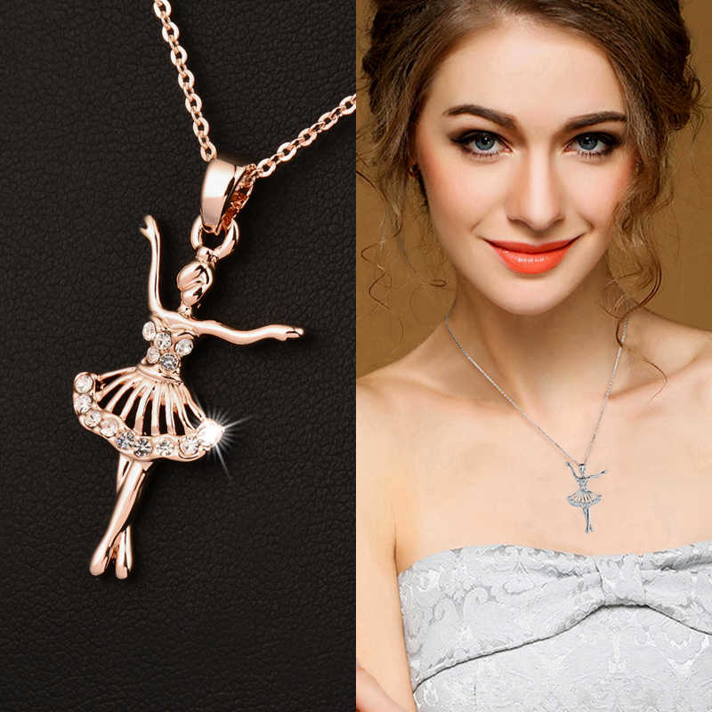 SINLEERY Elegant Rhinestone Ballet Dancing Angel Girl Pendant Necklace For Women Silver/Rose Gold Color Suspension Jewelry Xl006