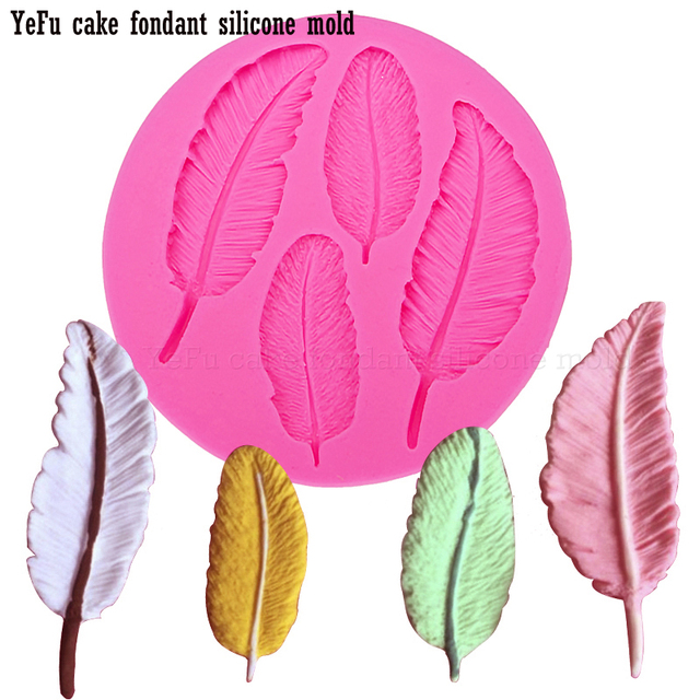 Feathers Lace chocolate Party DIY fondant cake decorating tools lace border silicone mold kitchen Baking accessories T0057