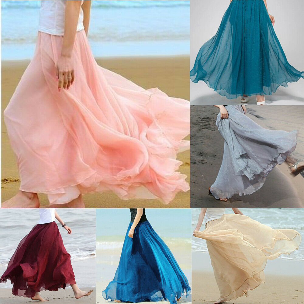 One Size Multi-colored Women Solid Boho Double Layer Chiffon Long Maxi Skirts Lady Girls Beach Sundress Skirt Fashion Clothes