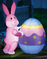 Гигантский надувной Пасхальный кролик толкающий яйца со светодиодными огнями для вечерние украшения