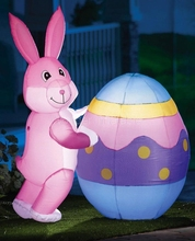 Giant inflatable easter bunny and eggs with led lights for party decoration