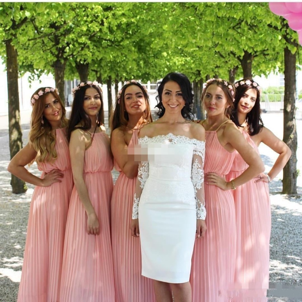 Popular bohemian bridesmaid gown buy cheap bohemian bridesmaid bohemian bridesmaid dresses wedding guest party gowns long beach prom dress halter pleated chiffon 2017 blush ombrellifo Choice Image