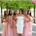 Bohemian Bridesmaid Dresses  Wedding Guest Party Gowns Long Beach Prom Dress Halter Pleated Chiffon 2017 Blush Pink Plus Size