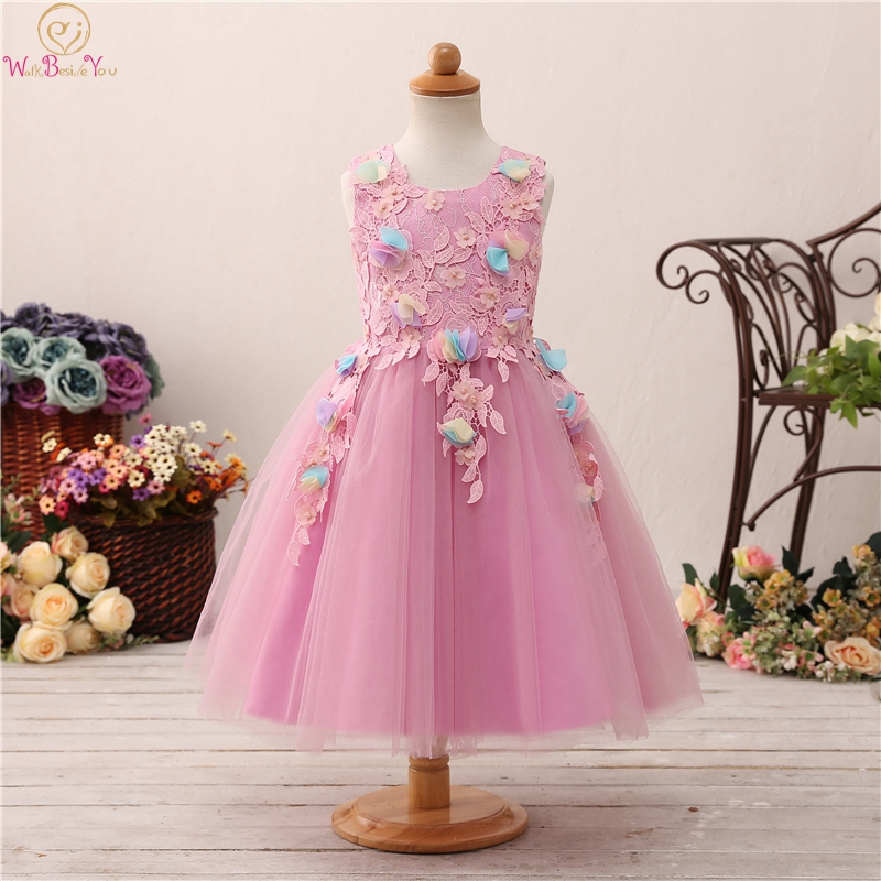 Pink Tea Length Ball Gown   Flower     Girls     Dresses   For Wedding 2019 Appliques   Flowers   With Big Bow Back First Communion vestido Gown