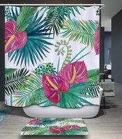 Poliéster impermeable cortina de ducha de verano tropical palm tree patrón resistente al moho cortina de baño 12 ganchos baño suministros