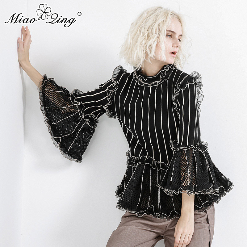 MIAOQING Striped Ruffles Blouse Tops Female Stand Collar Flare Sleeve Patchwork Mesh Hollow Out Knitted White Black Blouses 2019
