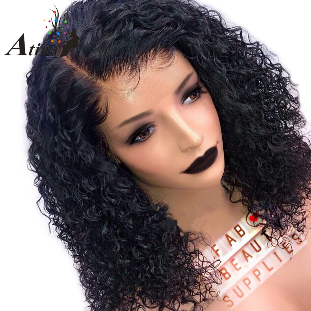Short Human Hair Wig Full Lace 250 Density Preplucked Brazilian Wigs Deep Kinky Curly Remy Virgin