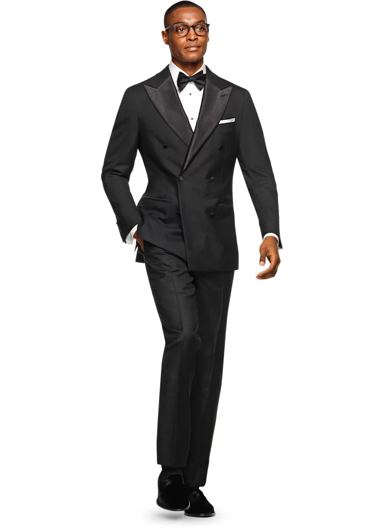 Hot Selling Hand Made Black 2 Pieces Jacket Pants Bowtie Double