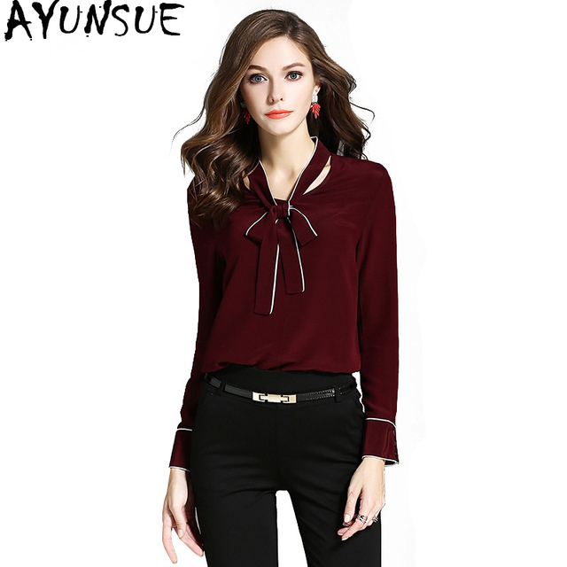 ae42600dc3e0fb AYUNSUE 100% Silk Women s Shirt Long Sleeve Blouse 2018 Korean Fashion  Spring Autumn Blouses Office Shirts Women Tops WYQ1096