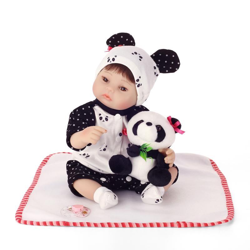 Nicery 16 pouces 40 cm Reborn bébé poupée en Silicone souple réaliste jouet cadeau pour enfants sourire bébé Panda vêtements Panda poupée