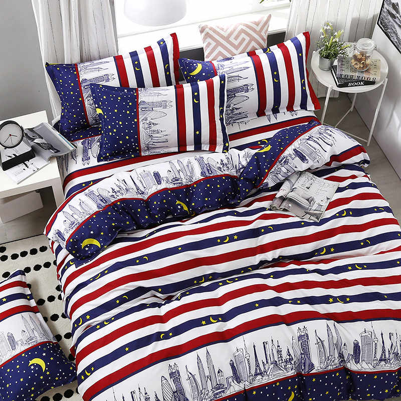 4pcs/set High Quality Comfortable Car Logo Printing Family Bedding Set Bed Linings Duvet Cover Bed Sheet Pillowcases