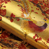 Chinese Retro Flowers And Birds Mural Wallpaper Luxury Golden Classical Art Background Wallpaper Gold Foil Wall