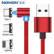 NOHON Elbow Magnetic Phone Charge Cable Lighting Micro USB Type C Magnet Fast Charger For iPhone X 7 8 6 Samsung Huawei LG