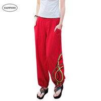 White Linen Pants Summer 2017 Print Harem Pants Plus Size Long Trousers Ethnic Loose Casual Pants