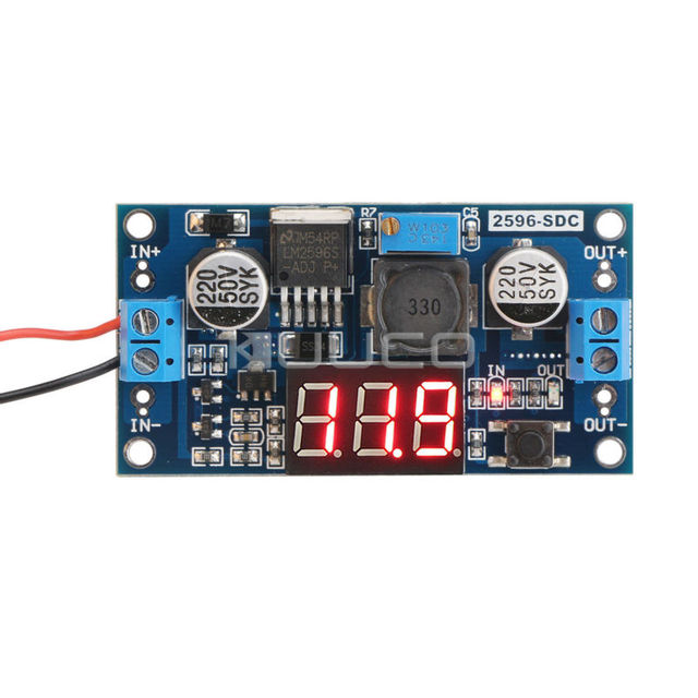 LM2596 DC 12v adjustable Voltage Regulated Power Supply Converter 24v to 12v 12 Volt to 5v 5 volt Buck Converter + LED Voltmeter