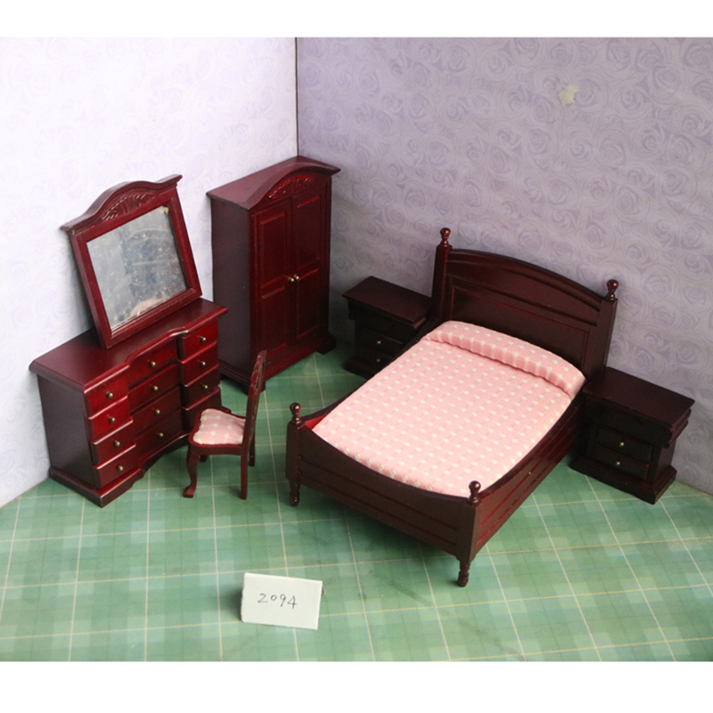 1:12 Dollhouse Miniature wooden bed chair simulation brown bedroom sets furniture for dolls pretend play toys for girls gifts цена