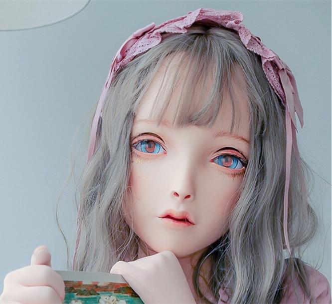 (LiLi Mask-34) Sweet Girl Resin Head Mask Kigurumi Cosplay Japanese Role Play Anime Silicone Kigurumi Mask Crossdresser Doll