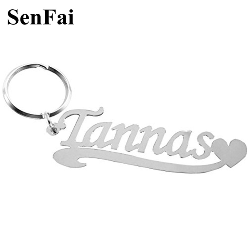 Senfai Custom Keychain With Name Engraved Any Font for women men Key chains Bag Charm Pendant Car Ring Jewelry Mothers Day Gift