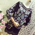 2017 Hot sale fashion  Heavy beading shirts floral gorgeous women Tops  blusas feminina black  white chiffon lace blouse  SP57