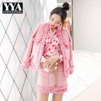 Brand Luxury Womens Pink Set Tweed Fashion Tassel Jacket Mini Skirt 2 Pieces Sets 2019 Autumn Elegant Slim Party Clothes Female