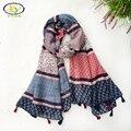 1 UNID 2017 Primavera Nuevo Diseño de Acrílico de Algodón Mujeres de La Manera Larga de Las Borlas Bufanda Mujer Nueva Flor Borlas Viscosa Chales Pashminas