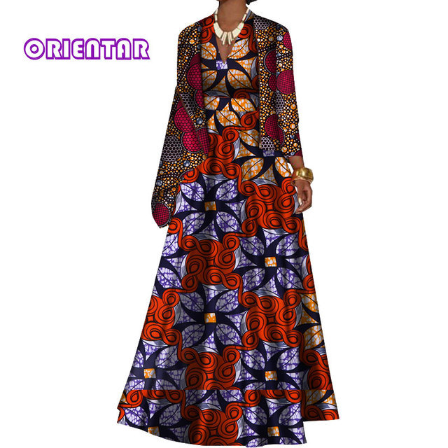 African Clothes For Women Long Dresses with Jacket Coat Bazin Riche African  Print Elegant Deep V Neck Evening Party Dress WY491 343322581cd4