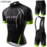 Uhtxhu 2019 Summer Cycling Jersey Set Mountain Bike Clothing MTB Bicycle Wear Clothes Maillot Ropa Ciclismo Men Cycling Sets