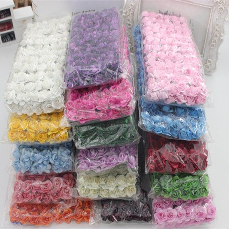 144 unids/lote 1,5 cm pequeña rosa de papel hecho a mano suministros para la fiesta de boda coche decoración flores artificiales