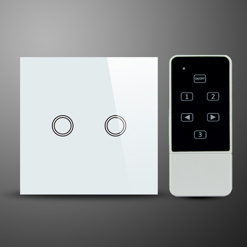 UK Standard White Crystal Glass Touch Panel 2Gang Touch Screen Light Switch with RF Remote Control and LED backlight new arrivals touch wall switch uk standard 2 gang 1 way rf light switches white crystal glass panel with wireless remote control