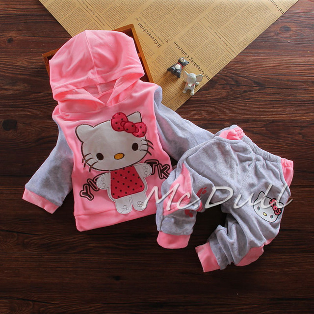 Good Quality Baby Girl Clothes Set 2016 New Spring Cartoon Clothing Set For Newborn Girls Long Sleeve Cotton Cute Hoodie Suit
