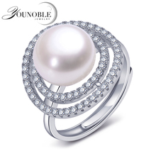 2017 Fashion Pearl Rings Jewelry Freshwater adjustable Pearl Ring Wedding Rings 925 Sterling Silver jewelry For Women white цена