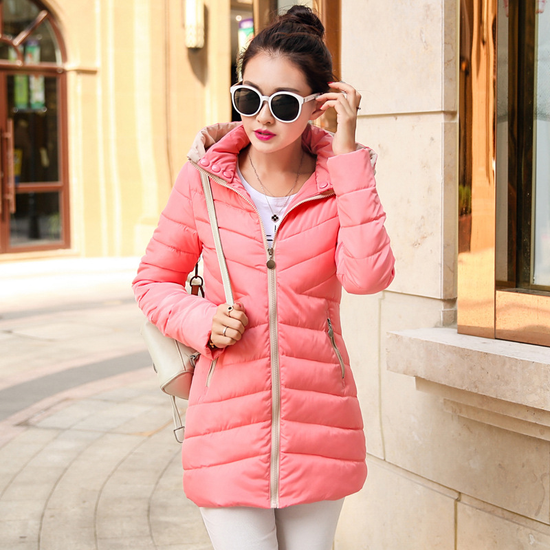 2016 New Winter Women Hooded Down Jacket High Quality Pure Color Zipper Jacket Big Yards Slim S03 Fashion