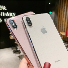 Glitter powder phone case for iPhone7 8plus XS Max XS X transparent silicone soft Bling women cover for iPhone 7 6S 6 8 Plus xr цена и фото